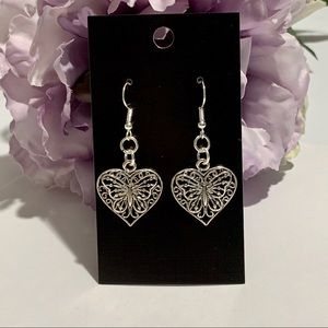 Beautiful Hollow Carved Butterfly Heart Earrings